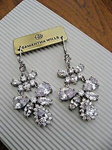 Details About Samantha Wills Earring Bridal Crystal Gardenias Sound Chandelier Long Nwt 179