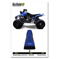1986-2004 Yamaha Warrior Black/blue/black Ribbed Seat Cover Made By Enjoy Mfg