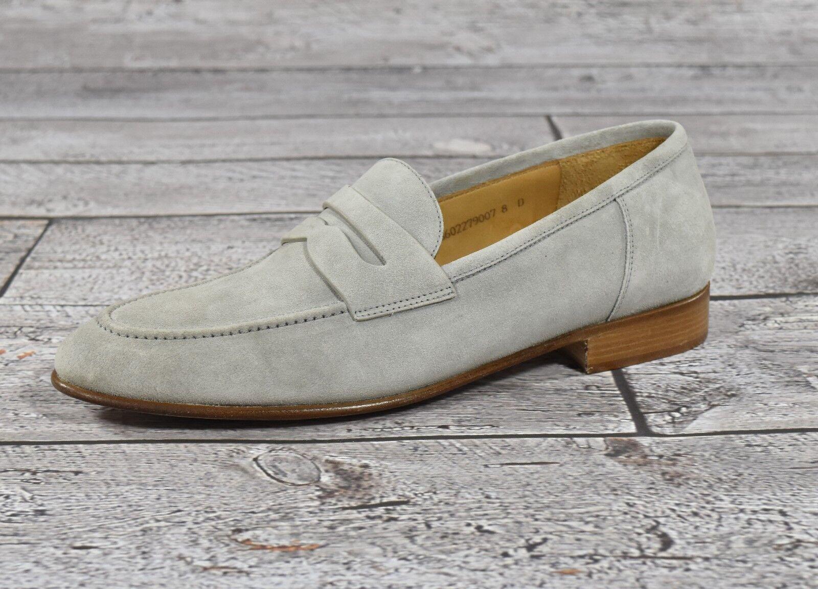Ralph Lauren Purple Label Grey Chessington Suede Penny Loafers New 0 Scarpe classiche da uomo
