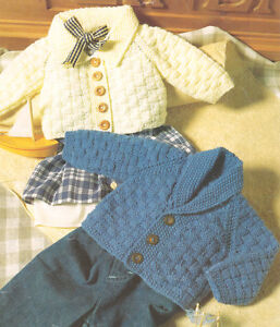 "Baby Girl Eyelet Cardigans Frill at Hem /& Cuff 16/"" 26/"" DK Knitting Pattern"
