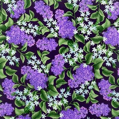 Fat Quarter Lazy Lilacs Floral Flowers Cotton Quilting Sewing Fabric