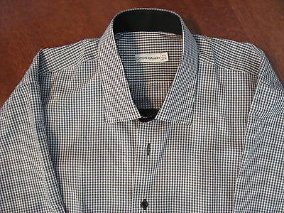 """Cotton Gallery"" Men's Dress Fitted Shirt Light Gray Gingham, Size 17 1/2 - 33"""