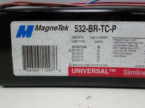 2 Lot of 6 Magnetek 532-BR-TC-P 277-Volt Slimline Ballast F40T12 F48T12 Lamps