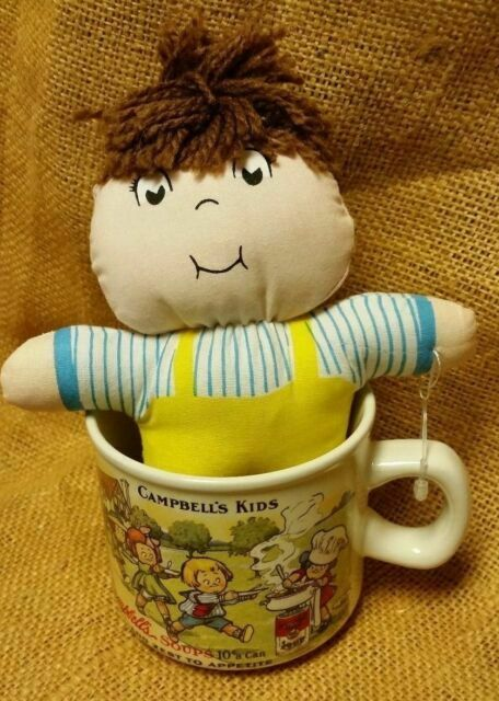pre loved, Campbells Soup Mug and Campbell Kid Patriotic Doll set Bicentennial plastic doll Vintage collectibles