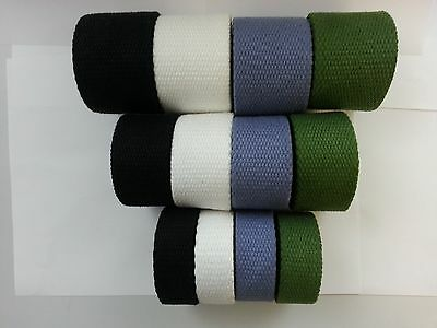 38MM 3.5mm THICK Reinforced Cotton Webbing Plain Strap Canvas Colored