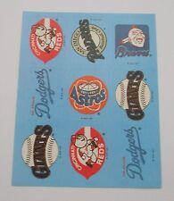 Vtg Baseball Logo Sticker Sheet~MBL~MLB~Dodgers~Reds~Braves~Giants~Astros~Padres