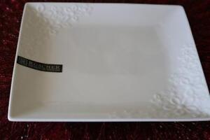 ROSCHER FINE PORCELAIN EMBOSSED FLORAL SALAD PLATES - WHITE - SET OF ...