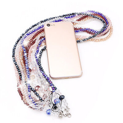 LX/_ Fashion Lanyard Bead Necklace ID Badge Mobile Phone Key Bling Cord Strap G