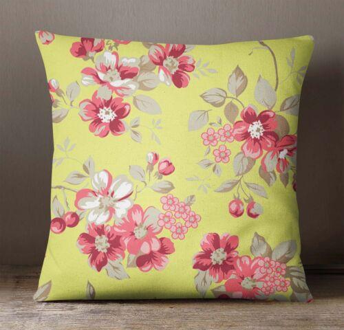 S 4 Sassy Housse de coussin jaune Square Pillow Cover Floral Print Throw Pillow Case