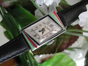 1929-Ladies-Art-Deco-14K-GF-Aztec-Colors-Enamel-Bulova-Watch-SERVICED