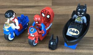 Genuine-Lego-Duplo-Wonder-Woman-Spider-Man-amp-Batman-Figures-Bikes-amp-Boat