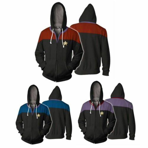 Star Trek Voyager Commander Captain Zipper Sweatshirt Costume Men Hoodie Jacket