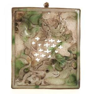 Vintage Chinese Carved Dragon Jade Belt Hook Engraved Brass Phoenix Hand Mirror