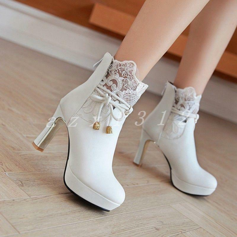 Womens Ladies Sythestic Leather Lace Chunky Heels Wedding Ankle Boots shoes 2019