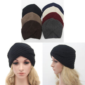 b4bdc65f695 Women Men Knit Turban Hat Head Wrap Band Pleated India Ski Skull Cap ...