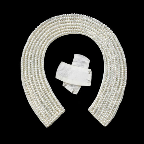 Pearl White Beaded Halter Collar Clear Bugle Beads Sew On Hook Clasp DIY By Pc