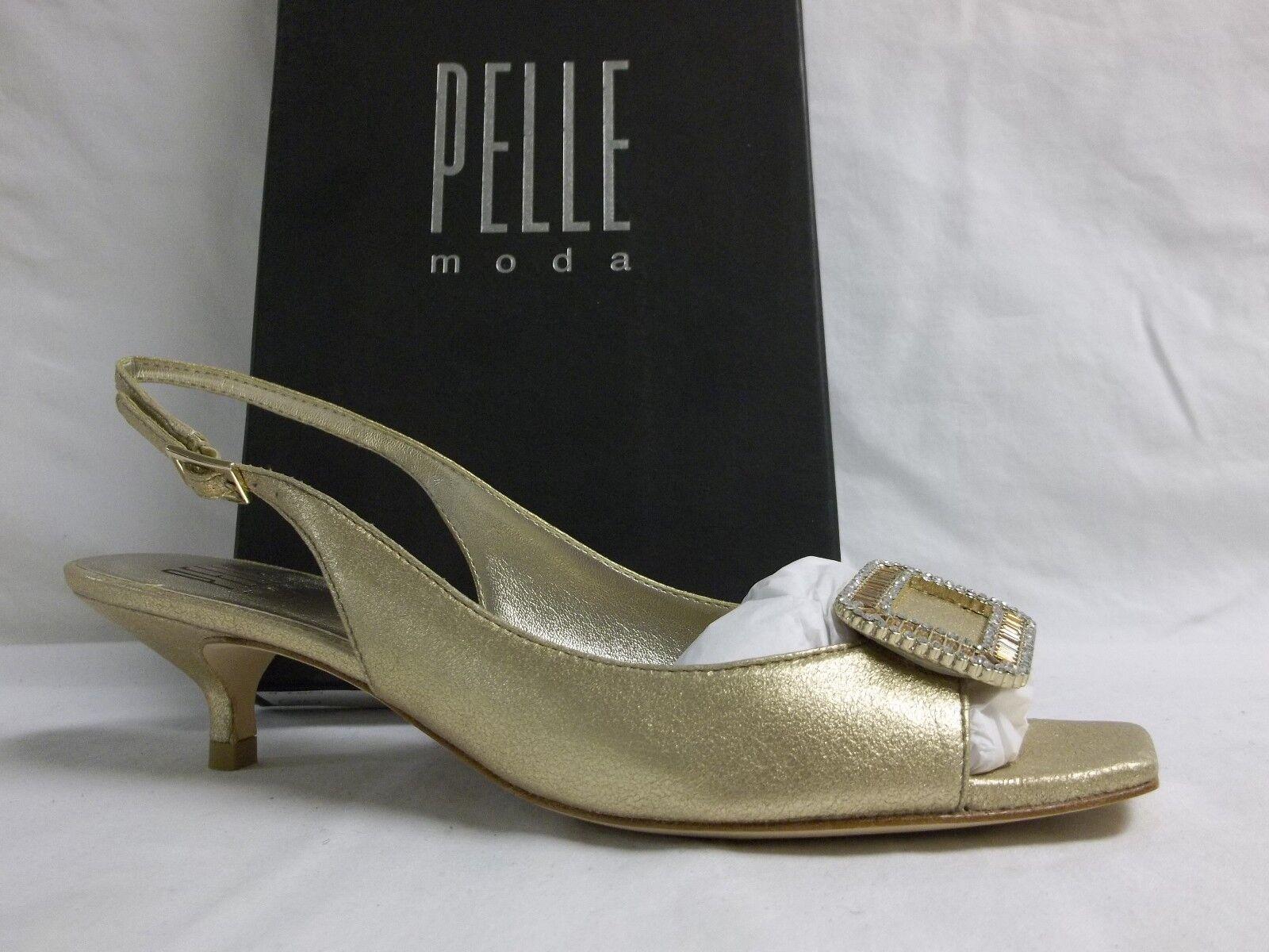 Pelle Moda Size 6.5 M Fresh Platinum Gold Leather Kitten Heels New Womens Shoes