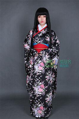 Hot Anime Hell Girl Ai Enma Cosplay Costume Black Kimono Free Shipping