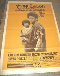 """1978 YOUNGBLOOD (R) 27"""" x 41"""" One-Sheet Theater Poster GD Lawrence Hilton-Jacobs"""