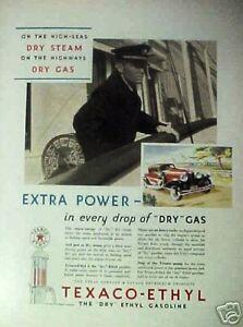 1931-Texaco-Ethyl-Dry-Gas-Oil-Boat-Ship-Car-Gas-Pump-Vintage-Memorabilia-Art-AD