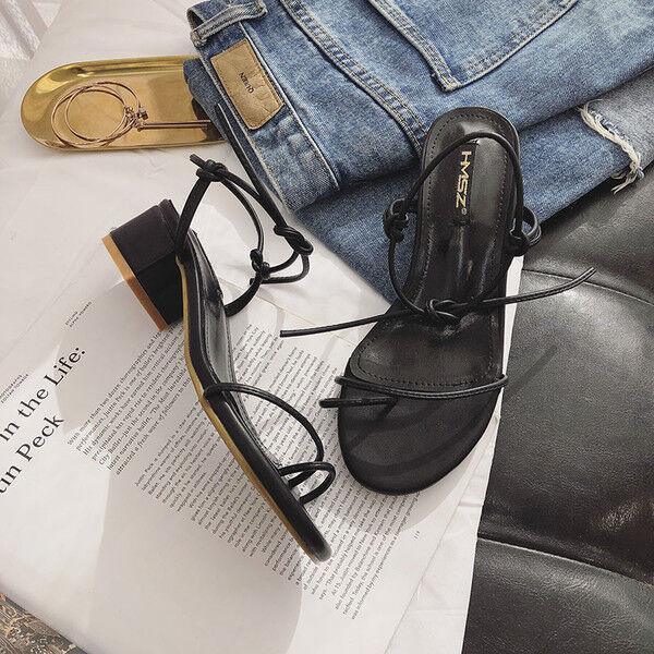 Sandalen Sandalen Sandalen 1 cm elegant schwarz absatz quadrat niedrig sandalen simil leder 1169 40431a