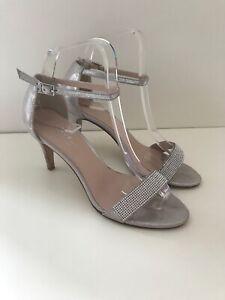 01637e6bf33 Details about Carvela Kurt Geiger Silver Strappy Heel Shoes, Diamanté  Sparkly, Party UK 4 37