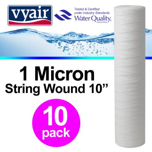 """Vyair 10/"""" PP 1 µ String blessure de sédiments Osmose Inverse Filtre à Eau x 10"""