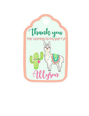 12 Personalized LLAMA /& CACTUS Baby Shower or Birthday Favor Tags Party Cute!
