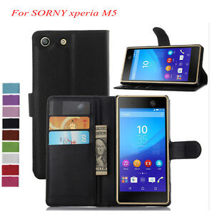 san francisco d25e9 f5d5d Details about PU Leather Flip Wallet stand Case Cover For Sony Xperia M5  Dual E5603 E5606