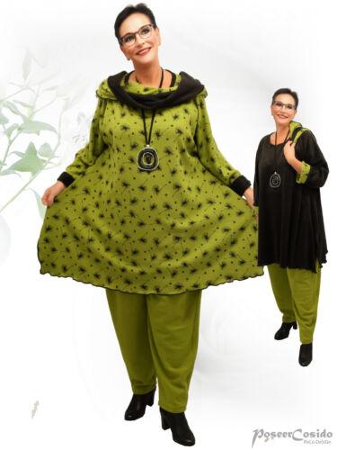 Poco design Lagenlook svolta-pullover long shirt Maglione FELPATE muschio di L-XL-XXL-XXXL
