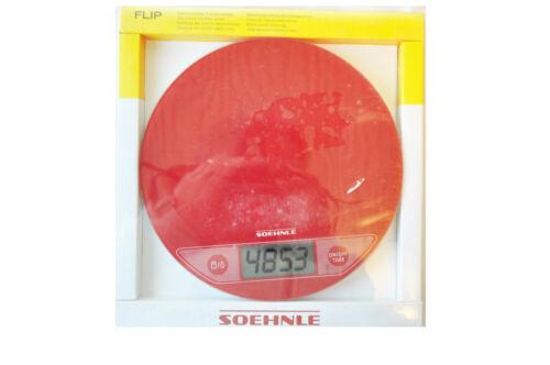 Soehnle 66173 Digitale Küchenwaage FLIP Limited Edition mit Glasoberfläche Rot