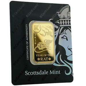 SPECIAL-PRICE-2020-1-oz-9999-Gold-Bar-Year-of-the-Rat-in-Certi-LOCK-COA-A491
