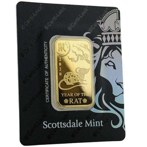 2020 1oz .9999 Gold Bar Year of the Rat in Certi-LOCK COA #A491