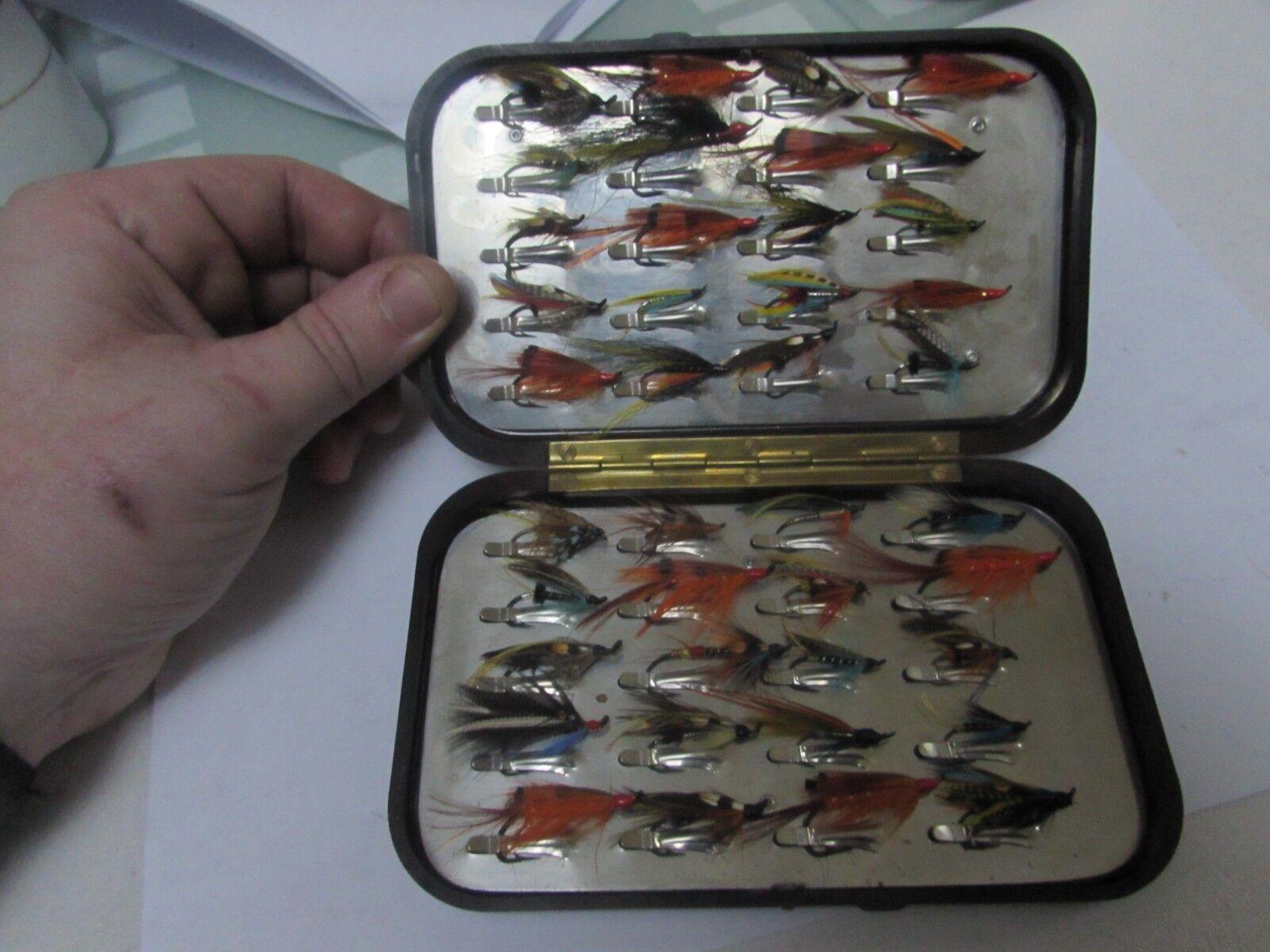 Excelente Vintage Hardy Alnwick Alnwick Alnwick grandes rojizo negroda Caja De Pesca Con Mosca + moscas.. 48dc05