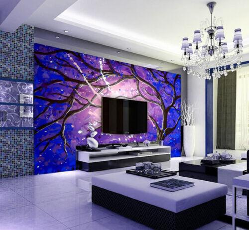 Purple Vortex Tree 3D Art Full Wall Mural Large Print Wallpaper Home Decal Decor