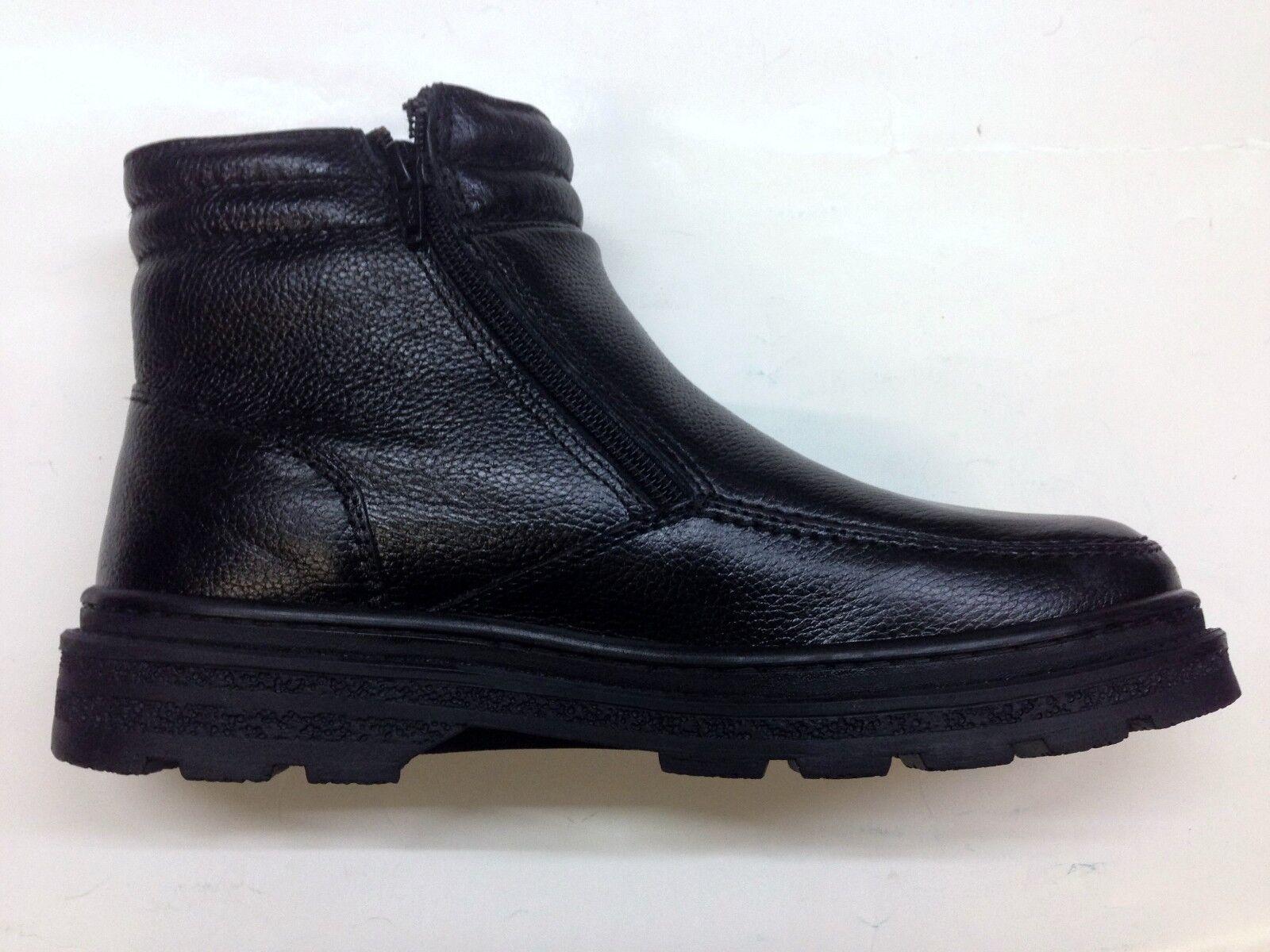 Men's Leather Warm Fur Lined Walking Twin Zip Walking Winter Ankle Boots Black