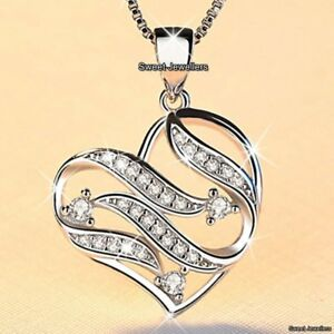 SALE-925-Silver-Crystal-Diamond-Heart-Necklace-Love-Xmas-Deal-Gift-For-Her-Women