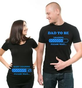 Pregnancy Funny Couple T-shirts Baby Loading Dad To Be Maternity ... 118231fa42f