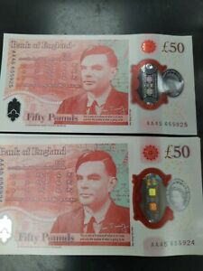 1 x UNC CONSECUTIVE UK £50 Pound 50 new polymer note ALAN TURING AA45