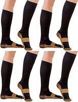 4 Pair Sm/med Black Compression Copper Socks Support 20-30 Mmhg Graduated Sock