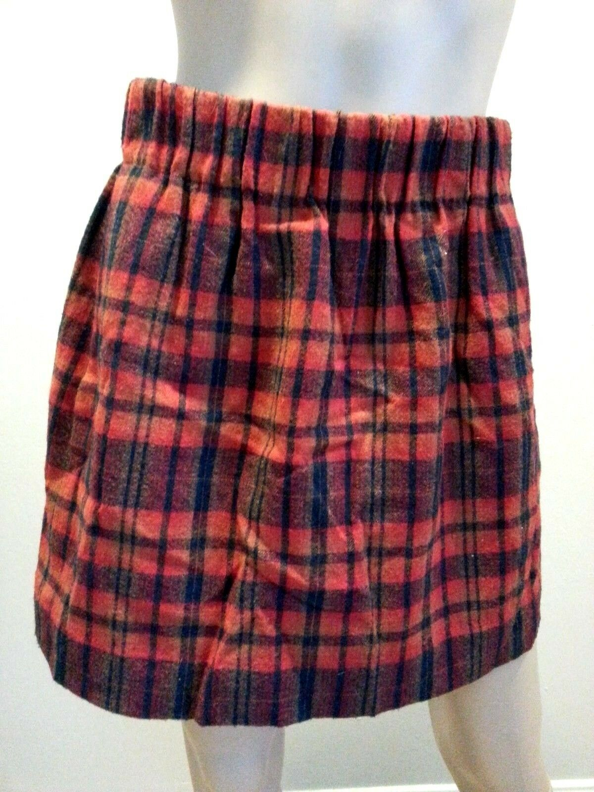 J Crew Red Tartan Plaid Stripe Wool Blend Mini Skirt 2