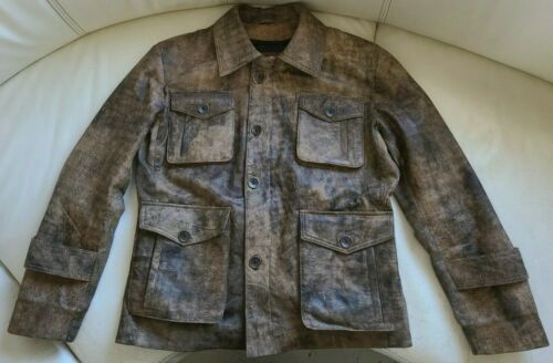 Distressed Brown Lamb Leather Field Jacket Size 40