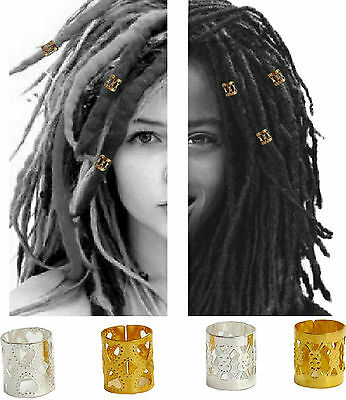 Dreadlock Braid 9x8mm Adjustable Cuffs Silver & Gold Beads Clip Dreads Tube Ring Clear-Cut-Textur