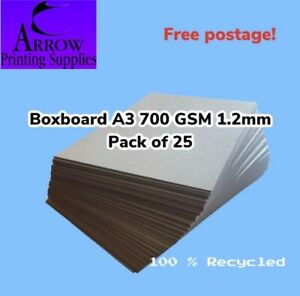 Boxboard A3 700GSM 1.2mm thick Backing Boards Recycled - Pack of 25