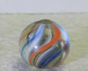 #12758m Vintage German Handmade Latticino Swirl Marble .55 Inches Near Mint