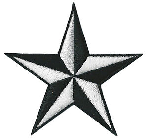 Ecusson-patche-etoile-Noir-Blanc-star-patch-brode-thermocollant