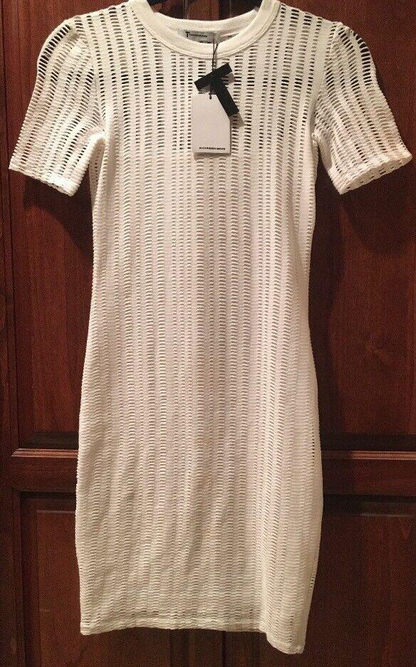 NWT  T ALEXANDER WANG White Jacquard Mesh Short Sleeve Shift Dress XS
