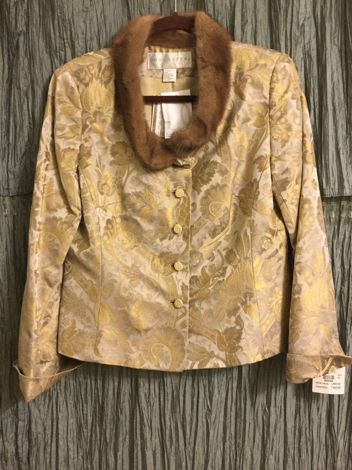 DONCASTER brocado de seda chaqueta con cuello  de visón talla 10  mejor reputación