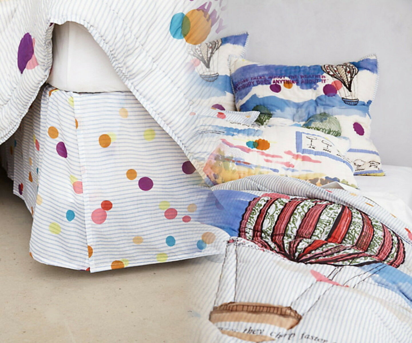 Anthropologie Petherton Full Bedskirt Cotton Whimsical Dots Cheerful English NWT
