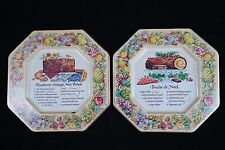 Blueberry Orange Nut Bread - Buche De Noel  Avon Tins Plates/Wall Décor 1982